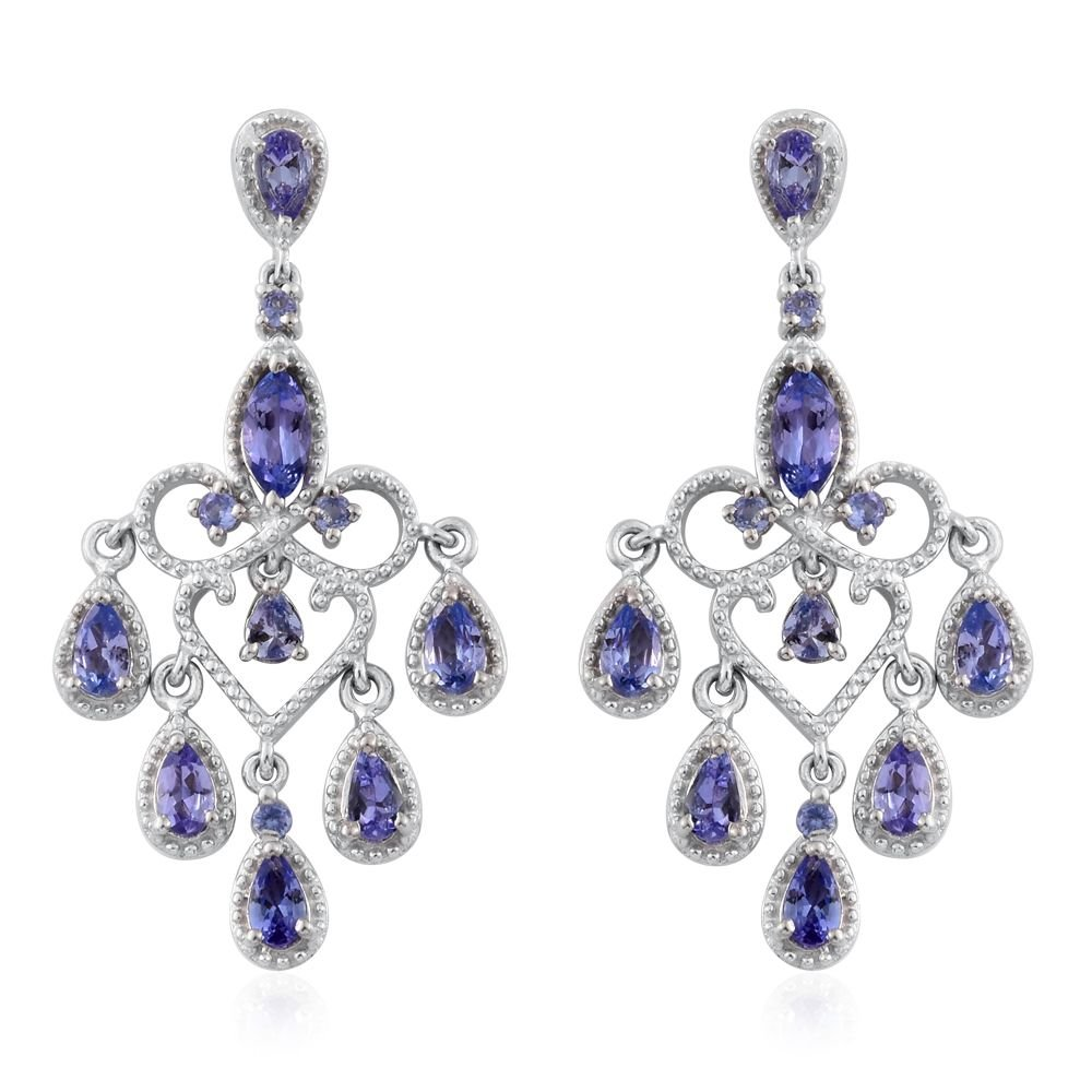 Tanzanite Platinum Plated 925 Sterling Silver Earrings 3.12 cttw.