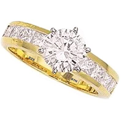925 Sterling Silver Ladies Simulated Diamonds Classic Gold gp Wedding Band Engagement Ring YFXYw3i6A8