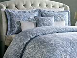 Tahari Home Luxury Duvet Cover Sky Blue Vintage Bohemian Style Moroccan Paisley Motif 300 Thread Count Cotton 3 Piece Bedding Set (Queen)