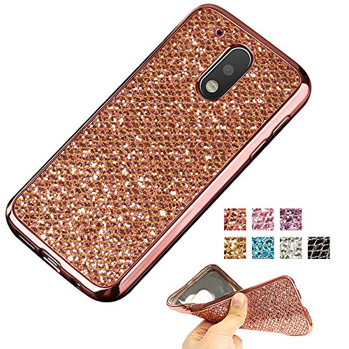 Moto G4 Case, Moto G4 Plus Glitter Case, AMASELL TPU Bumper Frame and Bling Soft Silicone Back Shell Cover for Motorola MOTO G 4th Gen (2016) / Motorola XT1625 / XT1644, Rose Gold