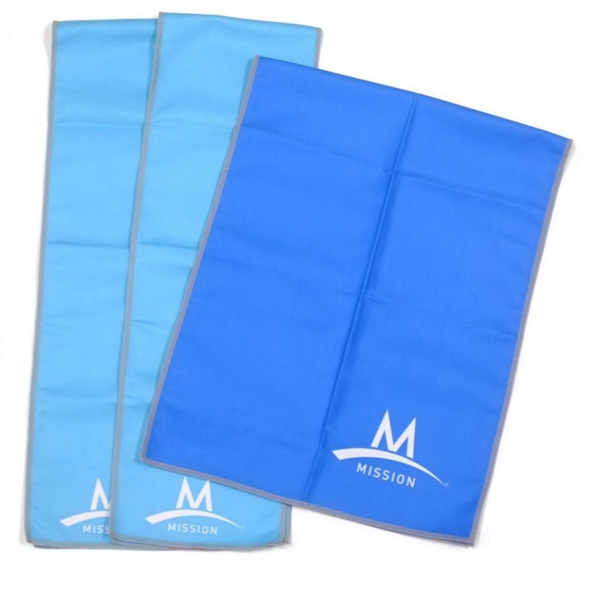 MISSION Enduracool Microfiber Cooling Towel 3 Piece Set (1 Large Towel & 2 Wraps)