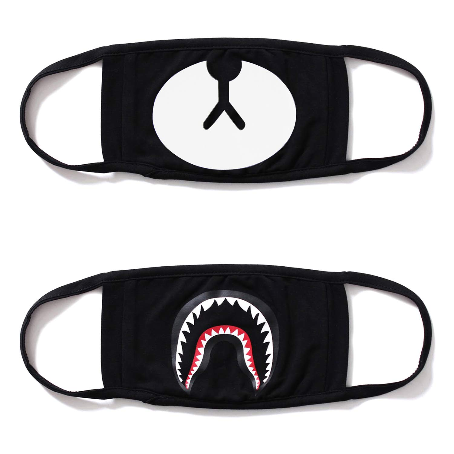 Cotton Mask 2 Pack Shark Mouth Mask Unisex Teo & Ayo Funny Shape for Kids Teens Men Women Lovers, Fog Respirator Anti Flu and Dust Protection Pollution Germs Allergens Windproof Half Face Masks(Black)