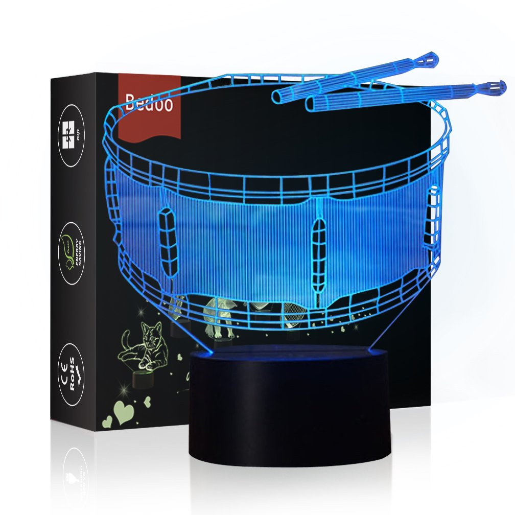 NChance Christmas Gift Magic Drum Lamp 3D Illusion 7 Colours Touch Switch USB Insert LED Light Birthday Present and Party Decoration