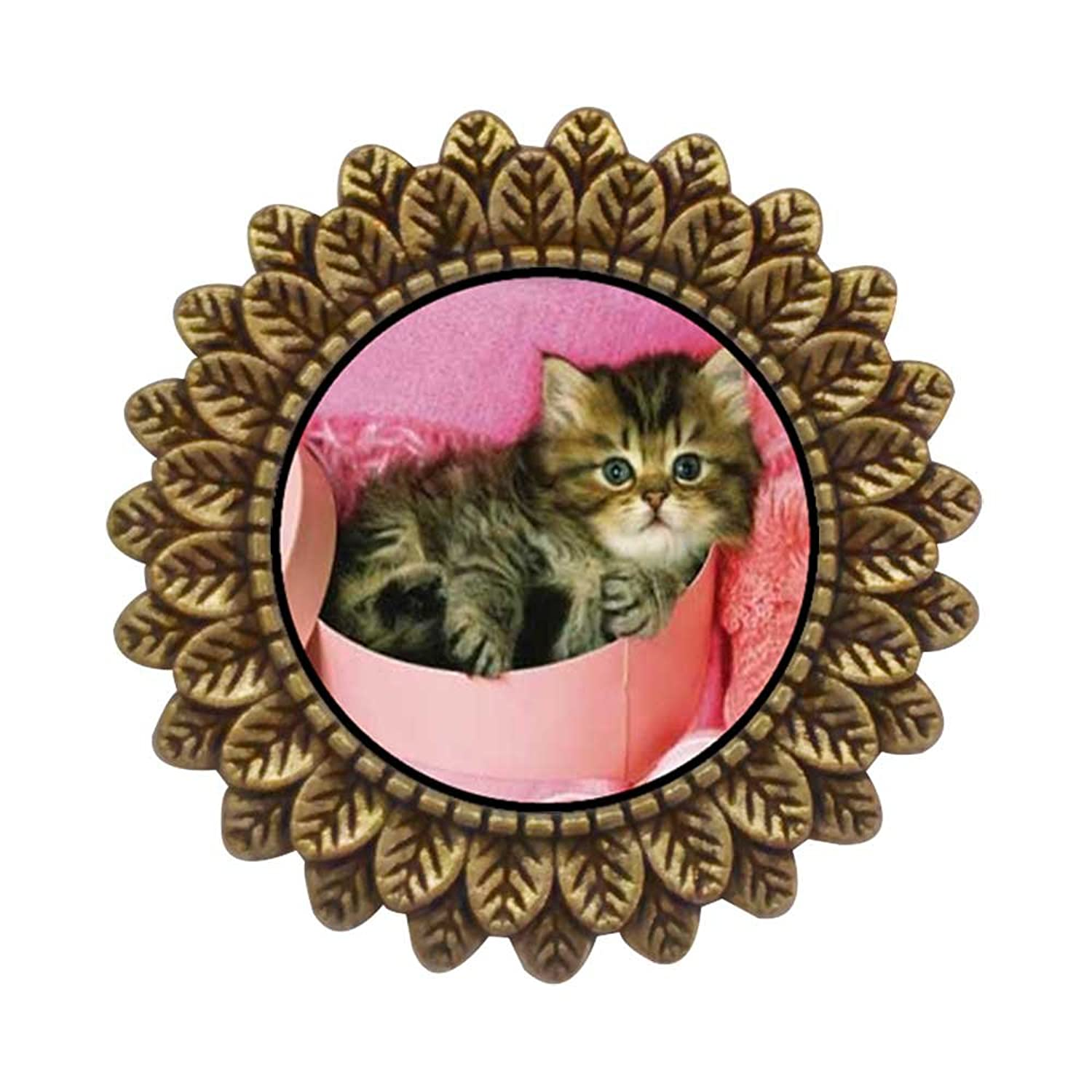 GiftJewelryShop Ancient Style Gold-plated Tabby Cat Leaves Cameo Pins Brooch