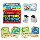 Sandwich Cutters for Boys by UpChefs - All-In-One Sandwich Cutter Bento Set Includes 4 Sandwich Cutters, 2 Mini Vegetable Cookie Cutters, and 8 Scratch-Off Lunch Box Notes!