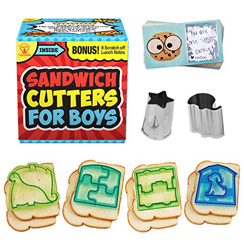 Boys by UpChefs - All-In-One Sandwich Cutter Bento Set Includes 4 Sandwich Cutters, 2 Mini Vegetable Cookie Cutters, and 8 Scratch-Off Lunch Box Notes! ()