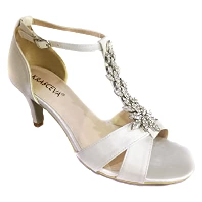 d029847c7273 Ladies Satin Wedding Bridal Evening Party Diamante Mid Heel T Bar Shoes  Sandals (UK 3