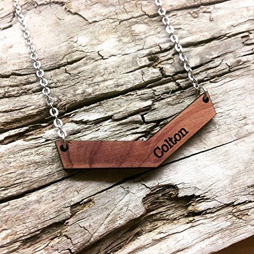 Wood Chevron Name Necklace - Customized Engraved Bars