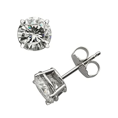 1d601601f Forever Brilliant White Gold 6.5mm Round Moissanite Stud Earrings, 2.00cttw  DEW By Charles