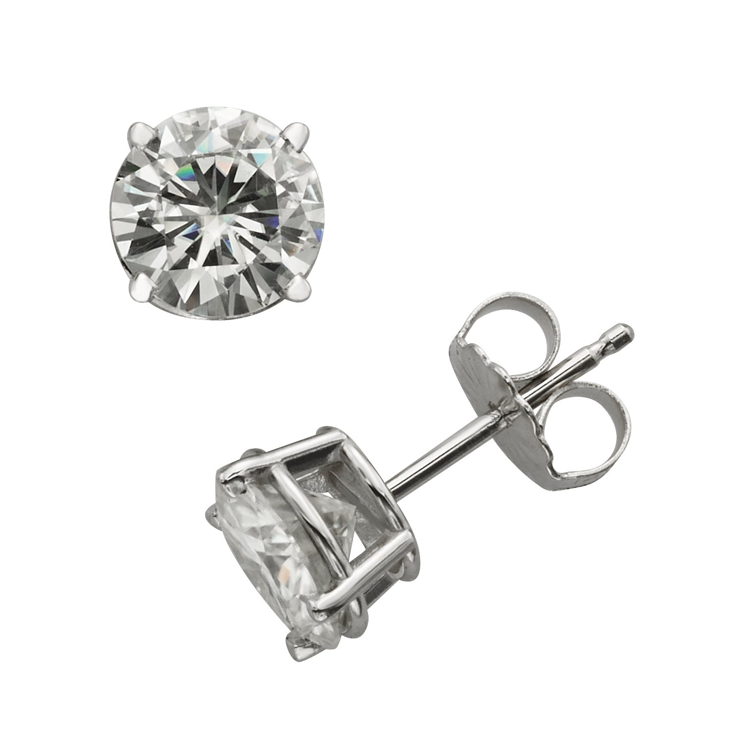 Forever Brilliant White Gold 6.5mm Round Moissanite Stud Earrings, 2.00cttw DEW By Charles & Colvard by Charles & Colvard