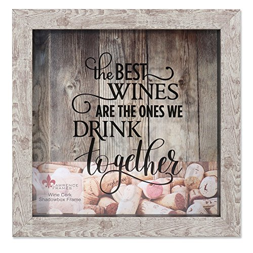 (Lawrence Frames 10x10 Weathered Birch Shadow Box Wine Cork Holder, Brown)