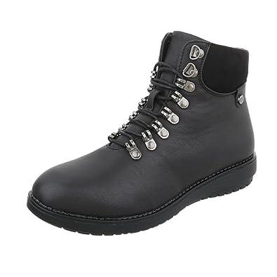 Cingant Woman Damen Boots/Stiefelette/Outdoor Schuhe/Profilsohle/Schnürstiefelette/Camouflage/Schwarz, EU 36
