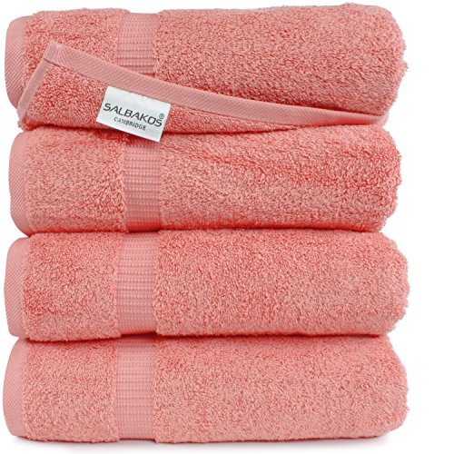 SALBAKOS Luxury Hotel & Spa Turkish Cotton 4-Piece Eco-Friendly Bath Towel Set 27 x 54 Inch, Coral (Bath Towel Set Coral)