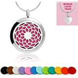 Maromalife Sunflower Aromatherapy Essential Oil Diffuser Necklace with 316L Surgical Stainless Steel Pendant Locket 24-Inch Chain and 12 Oil Refill Pads