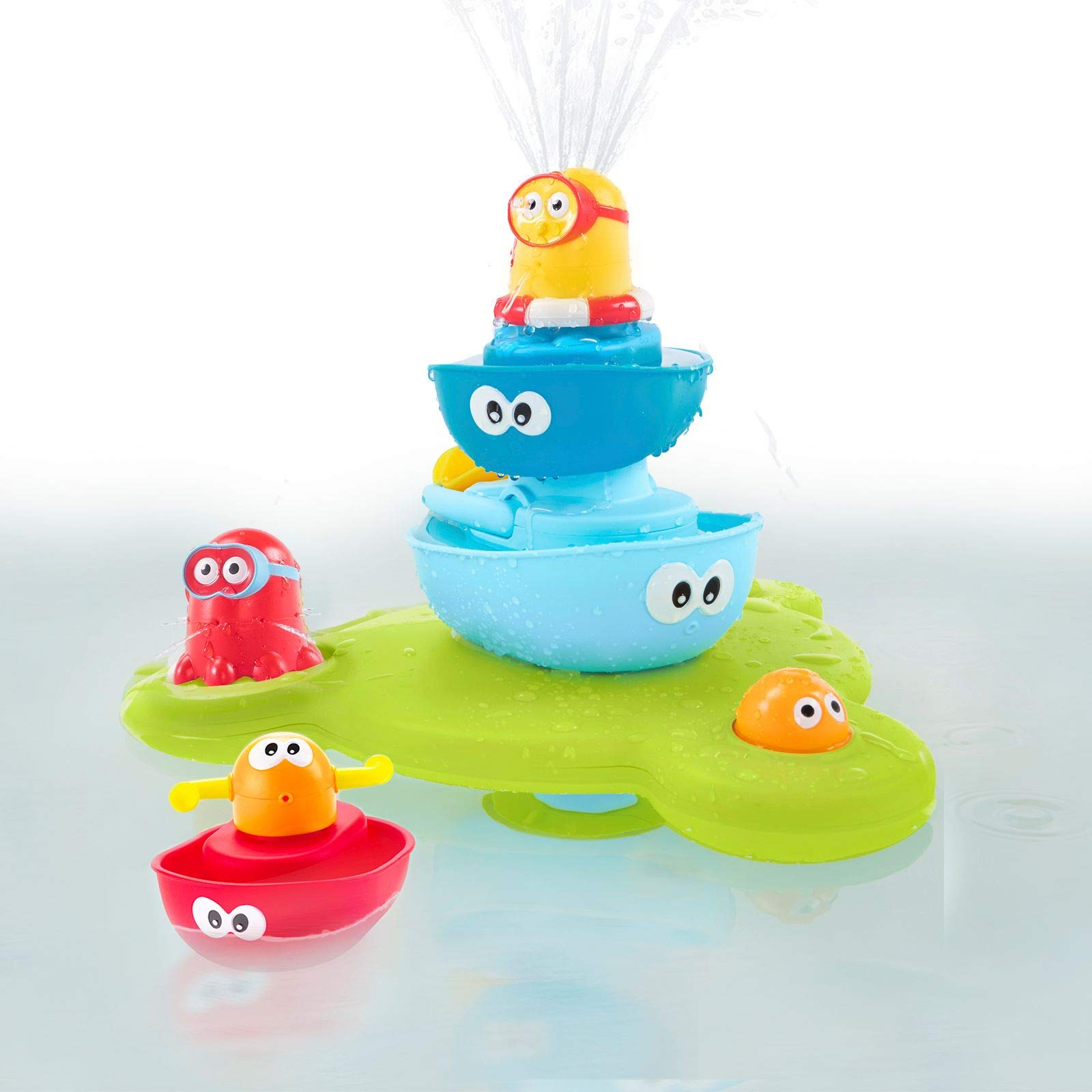Yookidoo Baby Bath Toy (7 Piece Set) - Stack N' Spray Bathtub Fountain for Baby and Toddler - Magical Spray Fountain for Bathtime Fun