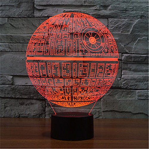 superniudb 3d death star 3d night light 7 color switch table desk lamp sporting goods outdoor. Black Bedroom Furniture Sets. Home Design Ideas
