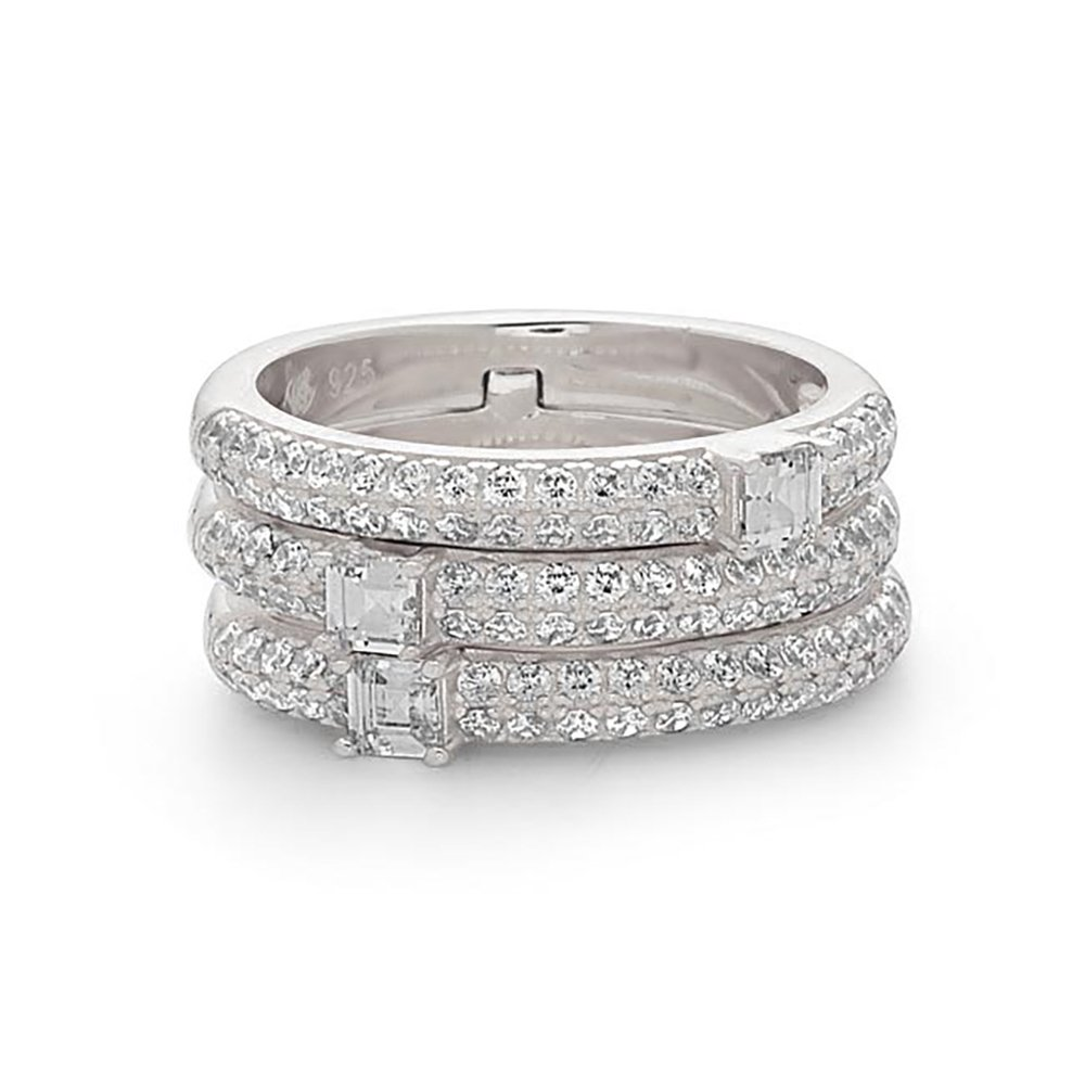 925 Sterling Silver Women's Stackable Crystal Fashion Ring, One Ring, Three bands look-like, Size 6
