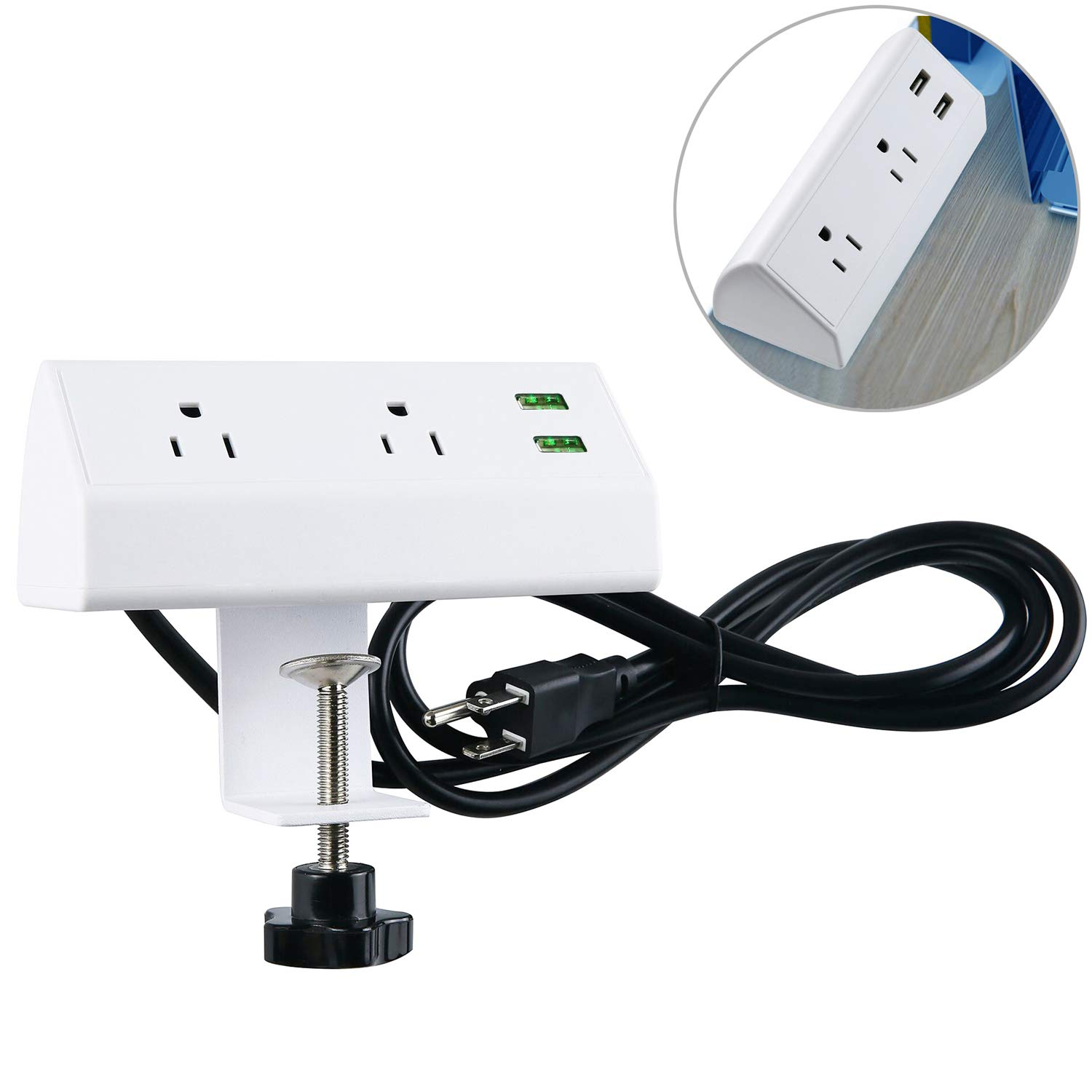 Desktop Power Strip Socket with USB, Conference Desk Power Outlets with Clamp Mount, 4.9 ft Extension Cord Connect 2 Plugs for Home Office Reading