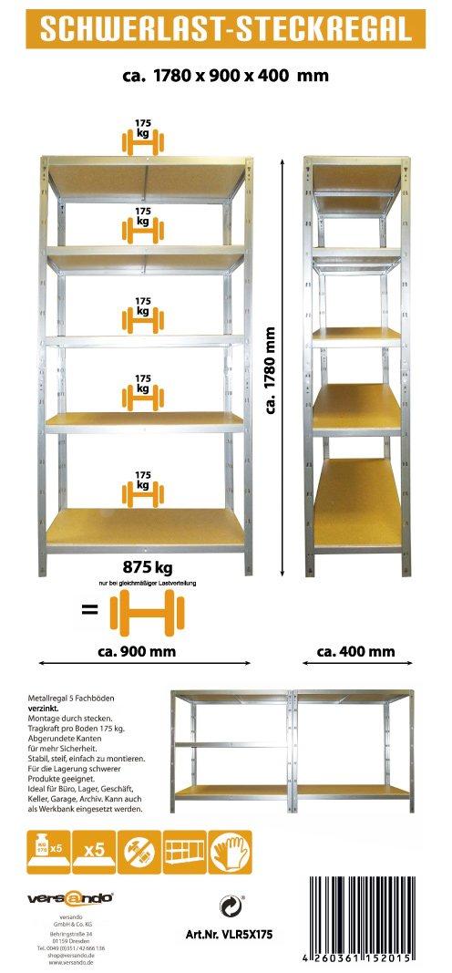 - made in EU ideale per Cantina/Garage 5 ripiani ...