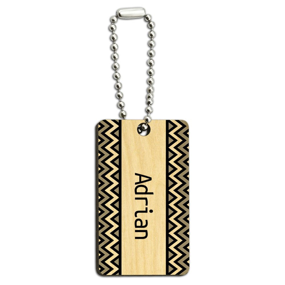Adrian Black and Grey Chevrons Wood Wooden Rectangle Key Chain