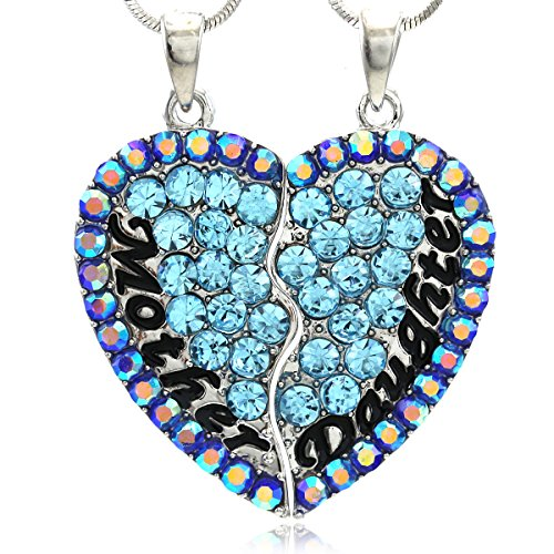 SoulBreezeCollection Mom Daughter Best Friends Heart Pendant Necklace Engraved Mothers Day Gift (Aqua Blue)