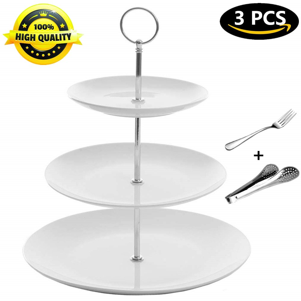 Cupcake Stand Dessert Pastry Cake Appetizer Stand Display 3 Tier Serving Tray Platters Fruit Plates White Ceramics Round for Wedding Tea Birthday Parties