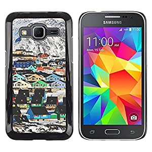 Caucho caso de Shell duro de la cubierta de accesorios de protección BY RAYDREAMMM - Samsung Galaxy Core Prime SM-G360 - Mountain Houses Colorful Architecture