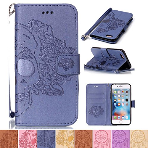 iPhone 6 Case, iPhone 6S Case, Firefish [Card Slots] [Kickstand] Flip Folio Wallet Shell Scratch Resistant Case Emboss Style Protective Cover for Apple iPhone 6/6S 4.7'- Skull-L