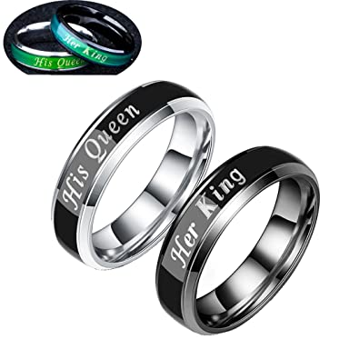 9f4a7fe97f TIDOO Jewelry Her King His Queen Stainless Steel Wedding Band Mood Ring  Changing Color for Couples Best Ideas|Amazon.com