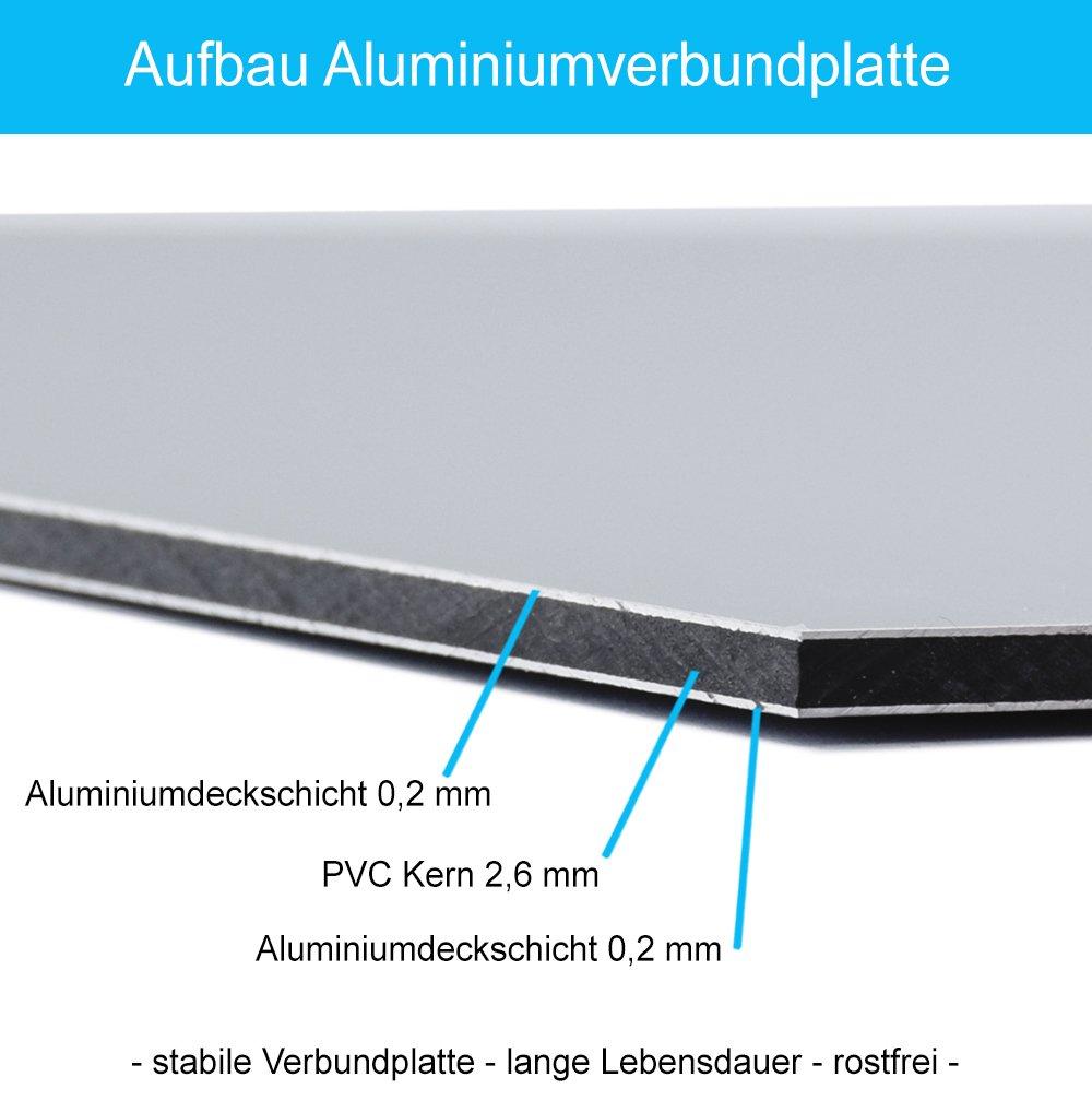 aus Alu//Dibond 300x200 mm Schild Vorsicht Stufe 3 mm stark