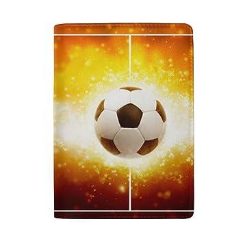 Ahomy - Funda de Piel para Pasaporte, diseño de balón de fútbol ...