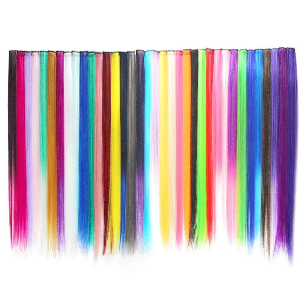 Wobe 36Pcs Colored Clip in Hair Extensions 21inches Multi-colors Party Highlights Straight Long Hairpiece Colorful Clip in Synthetic Hair Extensions for Women and Kids Streak Hairpieces (36 Colors) by Wobe