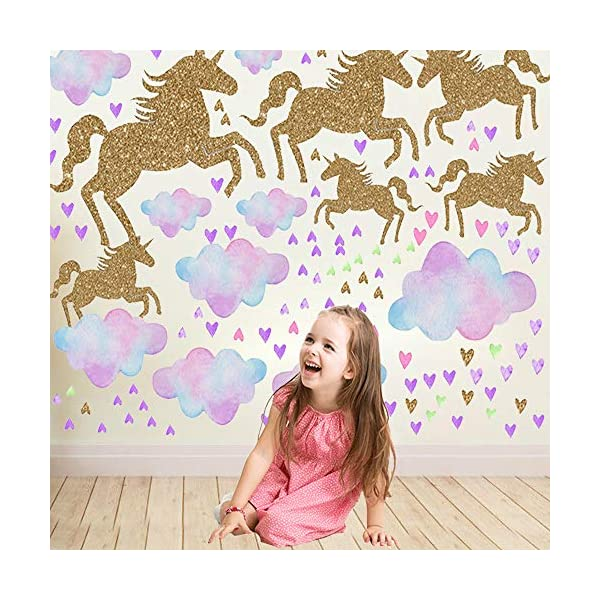 Unicorn Wall Decal, 2 Sheets Unicorn Wall Decor Stickers Removable Vinyl Decals Gifts for Girls Bedroom Kids Rooms Baby Nursery Home 3