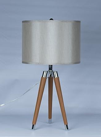 Urbanest Camel Mid Century Modern Tripod Leather Chrome Table Lamp