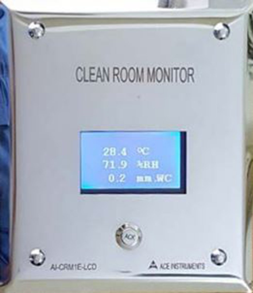 Ace Instruments AI-CRM1E-LCD External Clean Room monitor Humidity Temperature Differential. Pressure along with calibration certificate