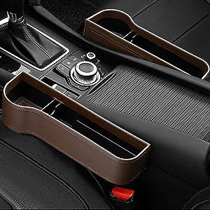 washidai Auto Black PU Leather Car Pocket Organizer Seat Gap Filler Box w/Cup Holder (Brown(2pack))