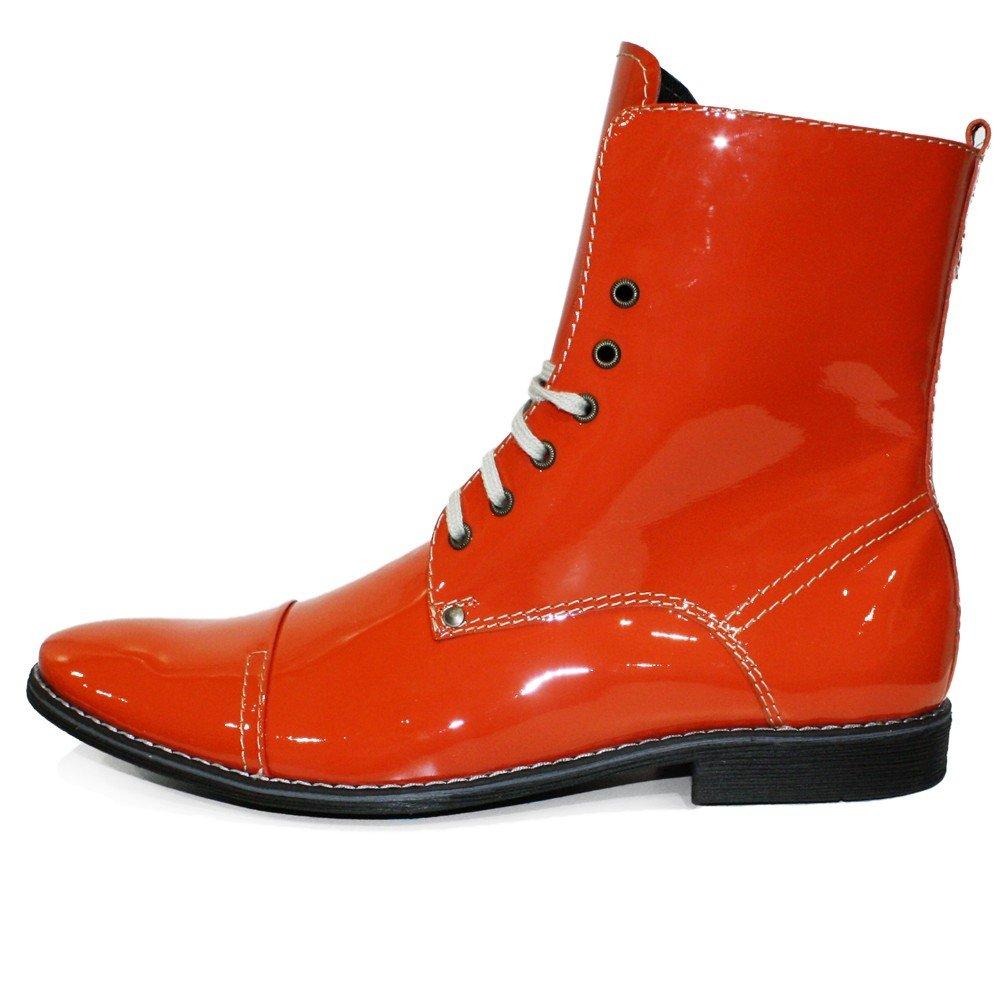 Modello Siciliano - Cuero Italiano Hecho A Mano Hombre Piel Naranja Botas Altas - Cuero Cuero Suave - Encaje: Amazon.es: Zapatos y complementos
