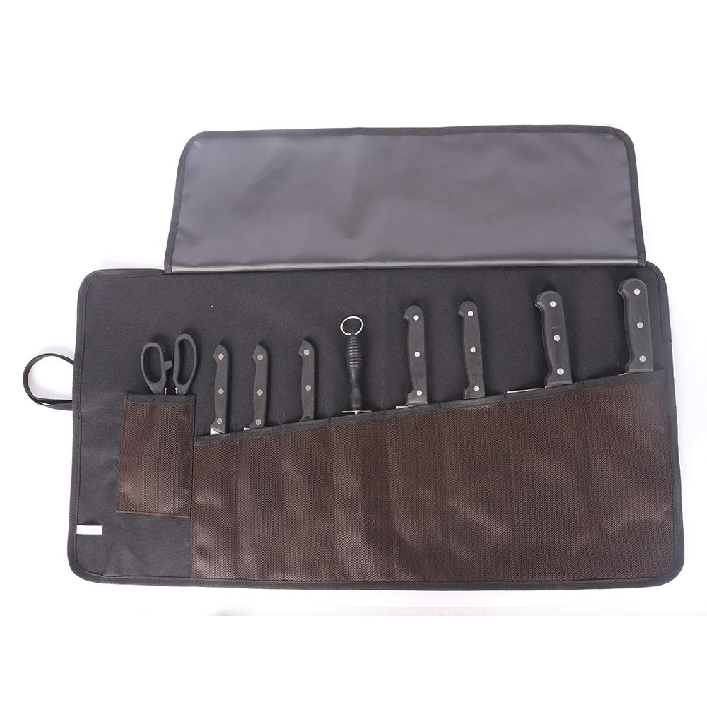 Waterproof Chef's Knife Roll Bag Toll Roll Carrier Chef Essential Tools Storage Holder Protectors Stores Up To 15.4'' Chef Knife Multi-Purpose Camping Utensil Bag With 9 Pockets And Cove (Coffee&Black) by Hersent