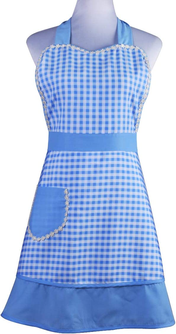 Cute Lovely Unique Design Women Girls Ladies Retro Apron with Chic Pocket for Cooking Kitchen, Blue