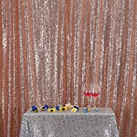 3e Home 6FT x 8FT Sequin Photography Backdrop Curtain for Party Decoration, Rose Gold