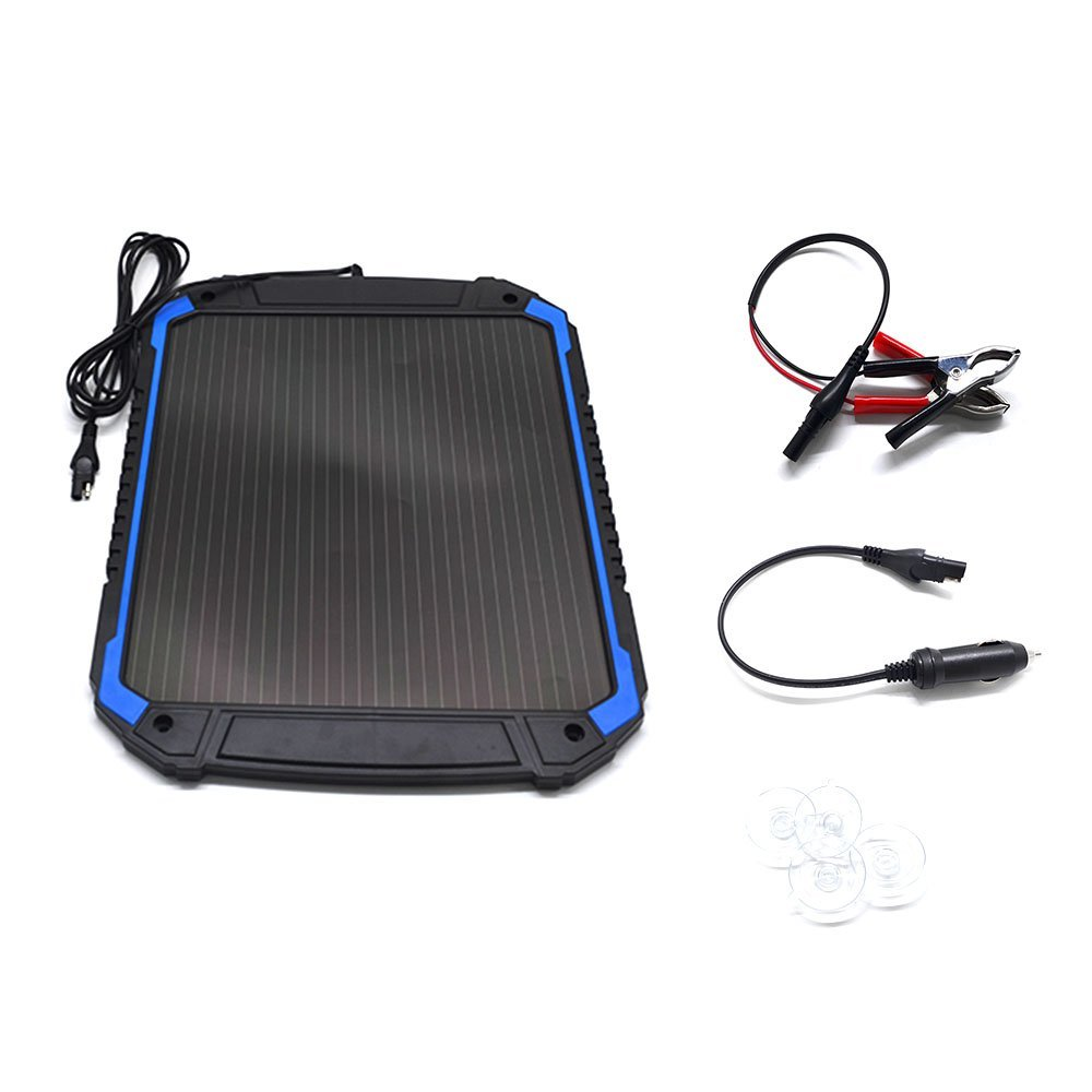 POWEREZ Solar Car Battery Charger 4.8W 12V Battery Trickle Charger Maintainer Solar Panel Power Charger Portable Backup For RV Motorcycle Boat Marine Trailer Tractor Powersports ATVs Snowmobile