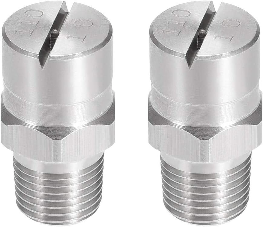 uxcell Flat Fan Spray Tip - 1/8BSPT Male Thread 304 Stainless Steel Nozzle - 110 Degree 2mm Orifice Diameter - 2 Pcs