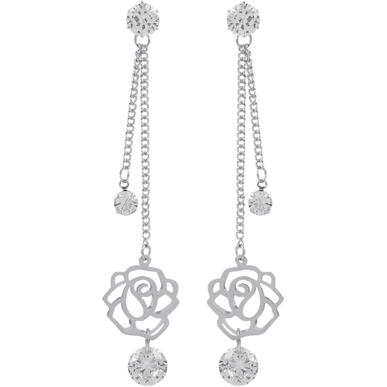 Efulgenz Rhodium Plated Hypoallergic Geometric Bar Tassel CZ Crystal Dangle Drop Earrings Set of 2