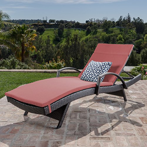 Christopher Knight Home 296786 Salem Outdoor Wicker Chaise Lounge Chair with Arms with Cushion, Brown with Red