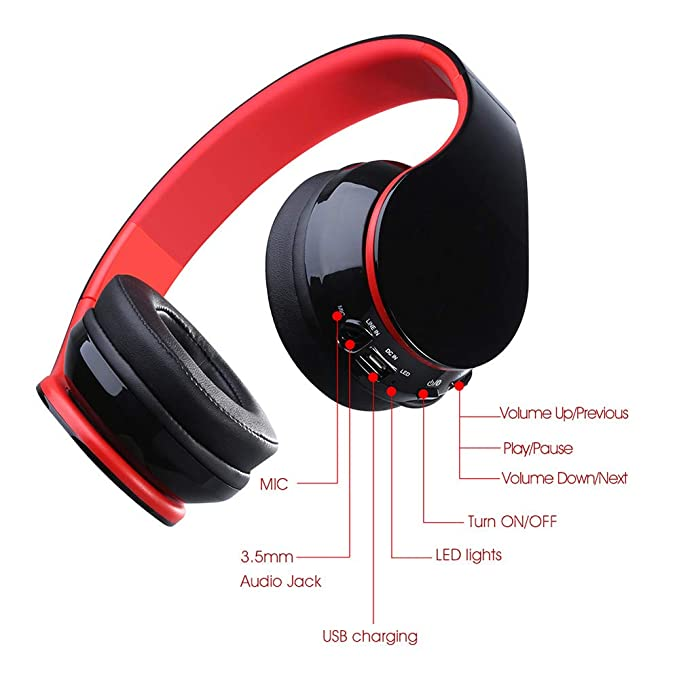 Amazon.com: GLDMT Bluetooth Earphone Head-Mounted Red CSR4.1 Explosion Wireless Bluetooth Microphone Creative Game Music Foldable Earphone Outdoor Sports ...