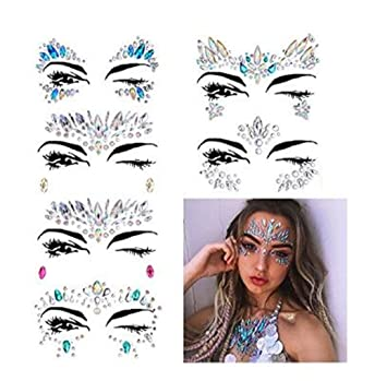 224954832 Trendership 6 Sets Mermaid Face Gems Rhinestone Tattoo Festival Jewels Eyes  Face Body Temporary Tattoos Glitter