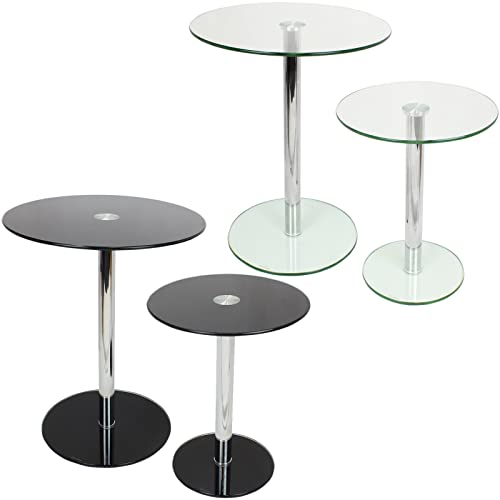 Genial Hartleys Set Of 2 Large U0026 Small Round Glass Tables