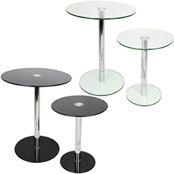 Hartleys Set Of 2 Large Small Round Glass Tables Amazon Co Uk