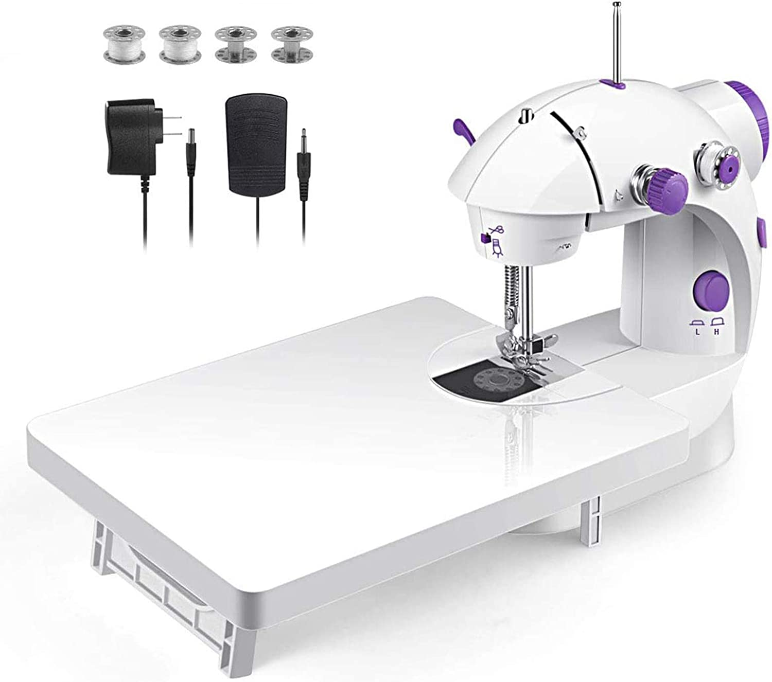 Mini Sewing Machine, Upgraded Model in 2020, Portable Multi-Function Assistant at Home with Foot Pedal 4 Coils (Lea2) and Extension Table (White), Also Used for Travel