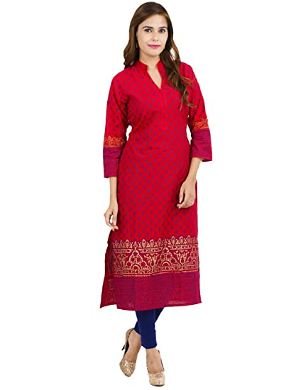 58dfe11ff Zoeyams Women s Red Cotton Block Prints Long Straight kurti  Amazon ...